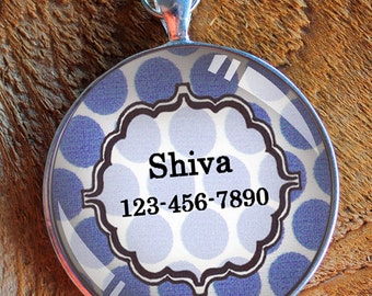 Pet iD tag one inch round CAT ID small breed Dog Tag Dog tag Cat Tag by California Kitties blue and white pola dot round ID CT9345