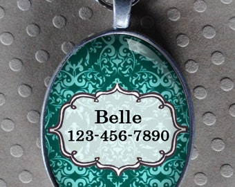 Pet iD tag oval CAT ID small breed Dog Tag Cat Tag by California Kitties turquoise ID OTE9134