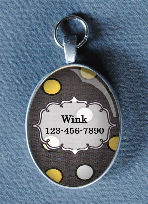 Pet iD tag oval CAT ID small breed Dog Tag by California Kitties Grey, yellow and white Oval ID UTO6656