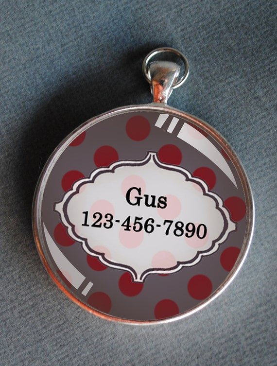 Pet iD tag one inch round CAT ID small breed Dog Tag Dog tag Cat Tag by California Kitties grey and deep red polka dot round ID CT3345
