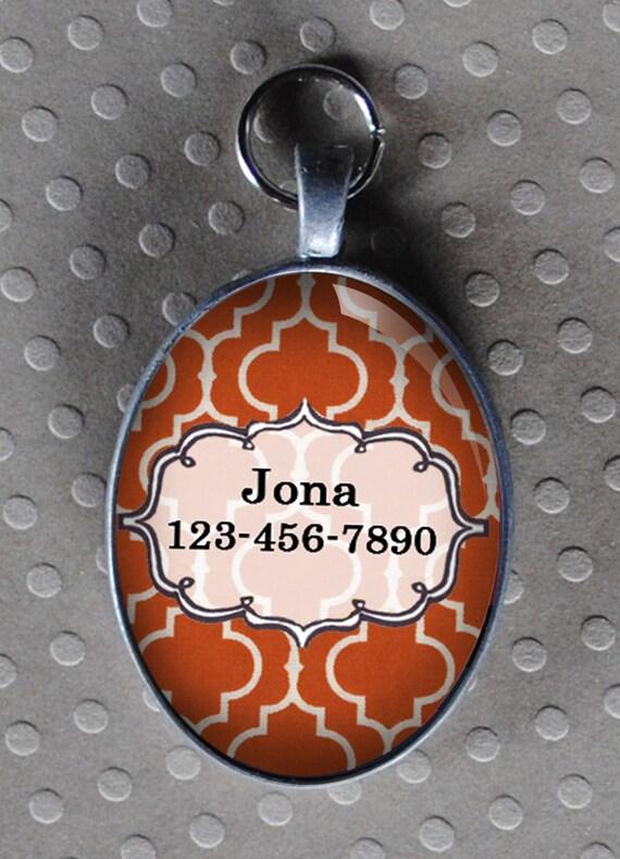Pet iD tag oval CAT ID small breed Dog Tag Cat Tag by California Kitties orange ID OTE1345