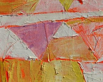 SUNNY -Original oil abstract painting on canvas-Yellow Orange Purple White Fluorescent - 40x80cm (15,7''x31,5'')