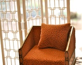 1:6 scale fashion doll orange side chair with gold and acrylic accents
