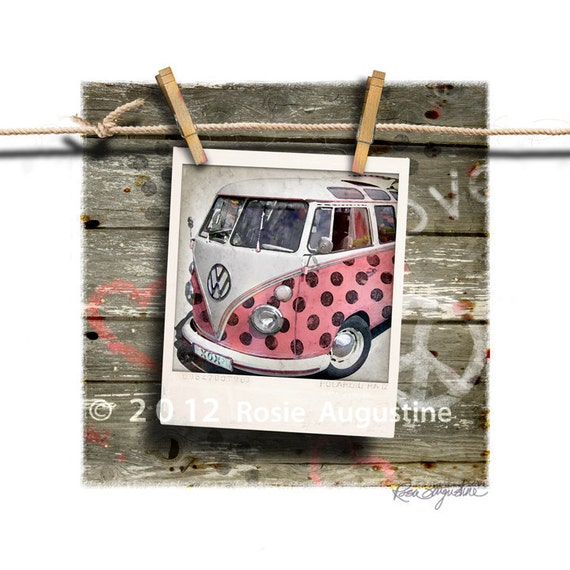 Pink Panther VW Bus Volkswagen with polka dots Polaroid Art 9x9 Print