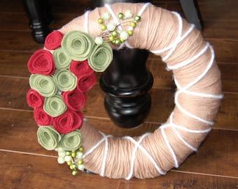 Christmas Wool Yarn Wreath