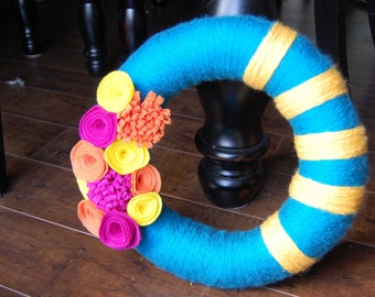 Turquoise Yarn Wreath with Yellow Stripes