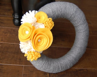 Yellow and Gray Felt Flower Yarn Wreath