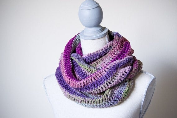 SALE - Purple Multicolor Infinity Scarf - Made to Order -  Fall Fashion, Ombre, striped, crochet loop scarf