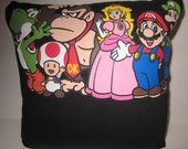 SALE - Mario and Friends Upcycled Tee Pillow - 12x12