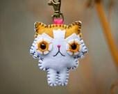 Felt Keychain - Bicolor Persian Cat