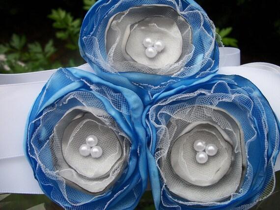 CLEARANCE SALE Flower girl Sash, Blue and Silver Posie Flower Wedding, Bride Bridesmaids Flower Girl