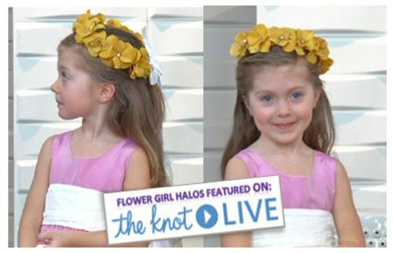 CLEARANCE SALE  Flower Girl Crown, Marigold Flower Girl Hair Wreath, Childrens Halo, Flower Girl Halo, Wedding Crown