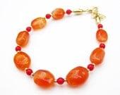 Carnelian and Coral Bracelet