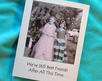 BIRTHDAY 1950s CARD Best Friends Humorous Photo