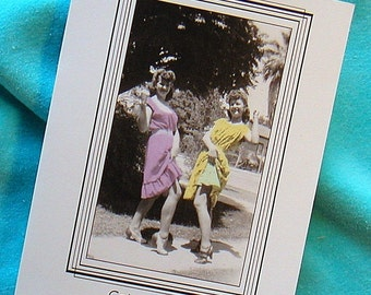 VACATION TRIP TRAVEL Card 1940s Photo Two Hot Chicks Hitchhiking