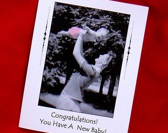 NEW BABY Congratulations Card - 1948 Vintage Photo