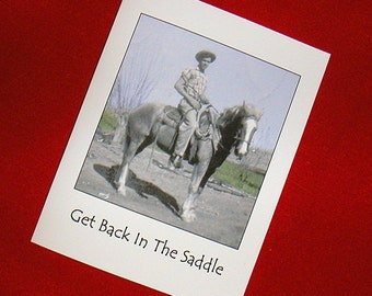 GET WELL/Recovery 1940s Vintage Cowboy Horse Photo Card Shoot The Bull
