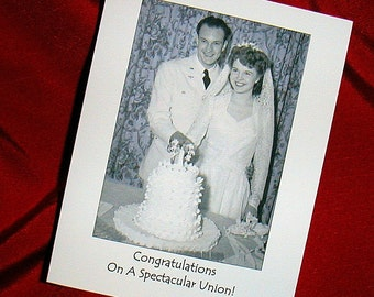 WEDDING MARRIAGE 1940s Photo Congratulations Card
