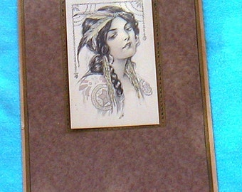 1914 Calendar With Indian Girl Antique Murphy 1910s Art Nouveau