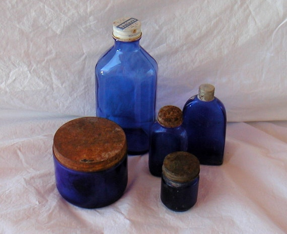 Antique Blue Glass Bottle And Jar Collection With Lids