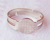 50 adjustable size bright silver colored ring blanks with 8mm glue on pad