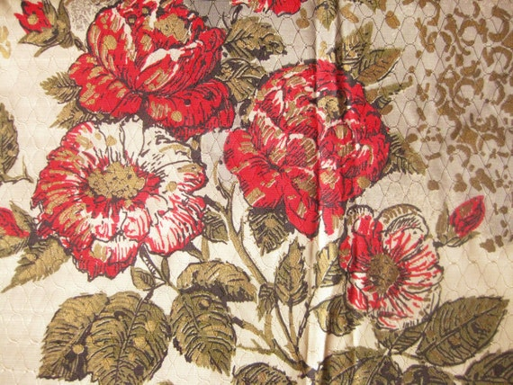 Curtains Vintage Gold and Floral 2 Panels