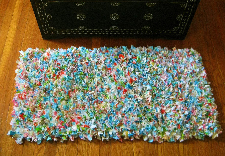 Hand Made Shag Rug Multi Colored