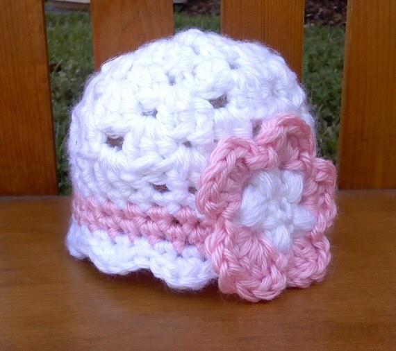 "Baby Girl Crocheted Flower Beanie - ""Stylish Pink and White"""