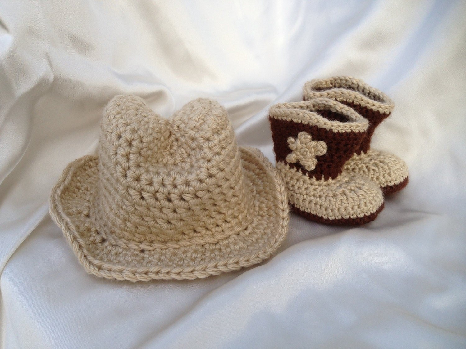 Crochet Baby Cowboy Free Pattern : Crochet Baby Brown Cowboy Hat and Bootie set by cmiron on Etsy