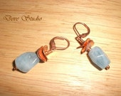 Aquamarine Earrings - Copper with Curved Copper Discs 115E