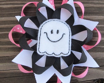 Layered Spiked Flower Ghost Halloween Boutique Hairbow