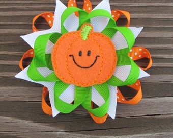 Layered Spiked Pumpkin Halloween Boutique Hairbow