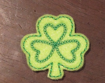 Saint Patrick's Day Shamrock Machine Embroidered Felt Embellishment