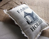 Lavender sachet farm house,blue ticking back,  shabby chic, farmhouse