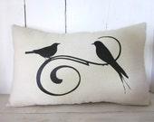 Shabby chic bird pillow, shabby chic, farmhouse decor,birds, cottage decor, linen pillow ,handmade pillow
