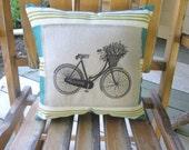 CHRISTMAS SALE Vintage bicycle pillow, shabby chic, farmhouse decor, pillow, linen pillow, bike, turquoise pillow