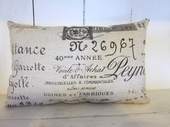 French script pillow, shabby chic, french farmhouse decor, farmhouse decor, cottage decor, linen pillow ,handmade pillow