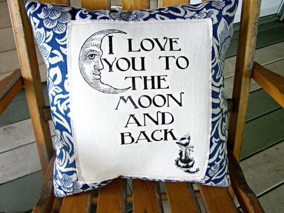 Linen pillow, I love you to the moon and back, shabby chic, farmhouse decor, pillow, cottage style pillow