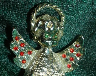 Vintage Angel Brooch by Tancer 1960's Rhinestone Gold Red Green