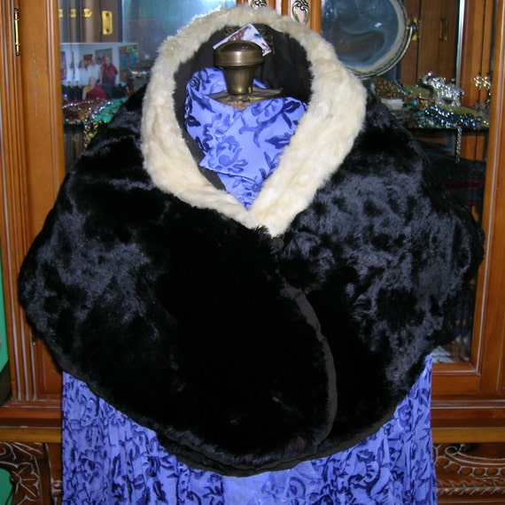 Antique 1880's Evening Fur Cape . Victorian Fur Stole . Black Shorn Beaver . Ermine Collar . Silk Ruffles . H Leibes & Co Portland OR label