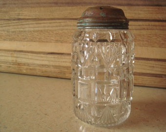 Clear Pressed Glass Muffineer - Sugar Caster - Sugar Shaker