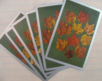 Vintage Autumn Leaf Playing Cards-Set of 6- Green