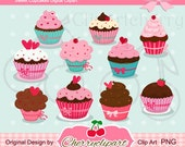 Sweet Cupcakes Digital Clipart Set for-Personal and Commercial Use- for Card Design, Scrapbooking, and Web Design