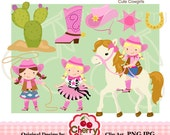 Cute Cowgirl Digital Clipart Set for -Personal and Commercial Use-paper crafts,card making,scrapbooking,web design