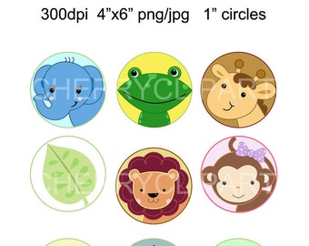 Safari Jungle Animals-1inch circles Bottle Cap Collage Digi Art Set