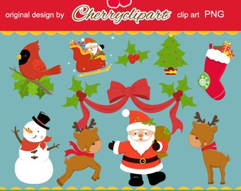 Merry Christmas Element digital clipart-Personal and Commercial Use-paper crafts, card making, scrapbooking