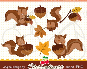 Squirrels's Autumn Nuts digital clipart for-Personal and Commercial Use-paper crafts,card making,scrapbooking,and Web Design