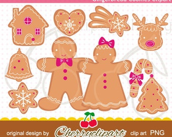 Gingerbread Cookies Digital Clipart for-Personal and Commercial Use-paper crafts,card making,scrapbooking,embroidery design
