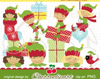 Lil Christmas ELF Digital Clipart-Personal and Commercial Use-for Card Design, Scrapbooking, and Web Design