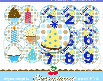 Birthday Boy  Polkadot Numbers-4 inch Circls Set for -Personal and Commercial Use - paper crafts, card making, Shirt Design,web design